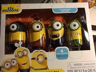 MINIONS COLLECTABLE BOTTLES BODY WASH COSTUME HALLOWEE MOVIE EXCLUSIVE NEW SET 4](Disney Hallowee)