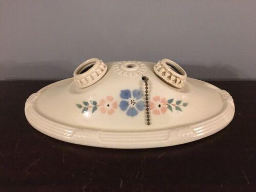 Vtg 1930s Art Deco 2 Bulb Porcelain Ceiling Light Fixture Pink Blue Floral Motif - $45.00