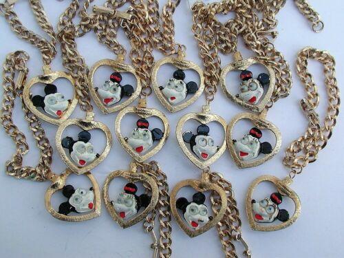 Walt Disney Productions 12 Metal Googly Eyed Mickey & Minnie Heart Bracelets