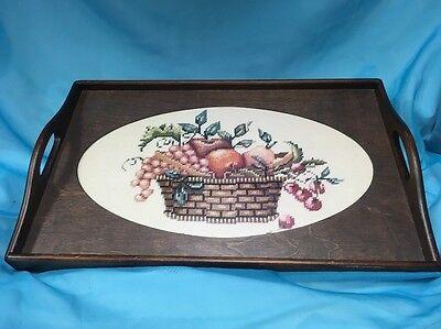 Vintage Wood Fruit Basket Needlepoint Cross Stitch under glass Serving Tray