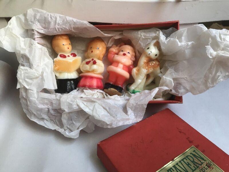 "VINTAGE CHRISTMAS CANDLES SANTA REINDEER & 2 CHOIR   3"" TALL. #A"