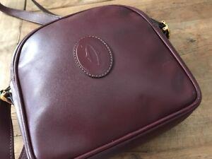 Vintage Authentic Cartier Must De Cross Body Shoulder Bag Bordeaux Burgundy