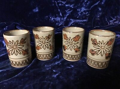 4 OMC Pottery Floral Cups 4oz made in Japan ()