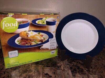 Food Network Banded Blue 16 piece Dinnerware Set (in original box) (Blue Banded Dinnerware Set)