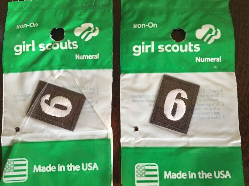 """NEW BROWNIE GIRL SCOUT NUMERAL """"6 OR 9"""" LOT OF 2 IRON-ON. FREE SHIPPING"""