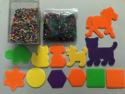 Perler Bead Lot of 1+ lb Multi-colored Beads & 12 Peg Boards Pegboard VGUC