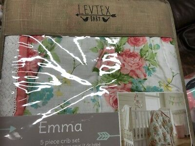 New Levtex Baby Emma 5 Piece Crib Bedding Set Infant Nursery Flower - Blossom Baby Crib