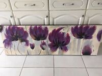 Large Canvas Purple Floral 150 X 50 Cm