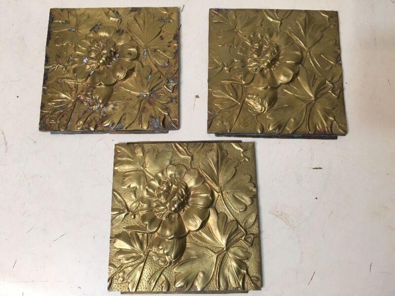 3 Antique Aesthetic Era Brass Relief Plaques Tiles Floral Motif  Architectural