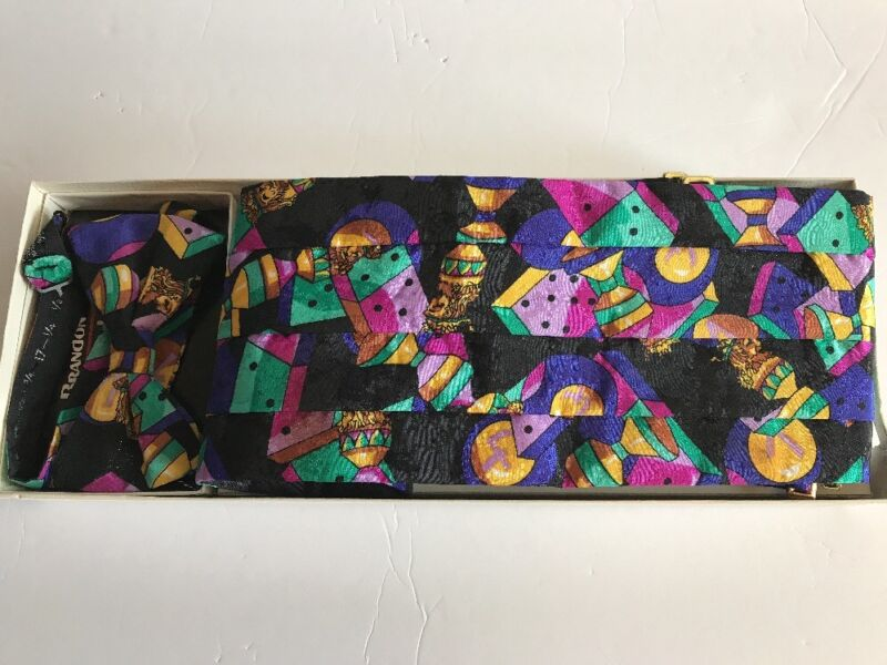 Mardi Gras Cummerbund + Bowtie Set Kings Hint of Glitter W/ Box Brandon Michael