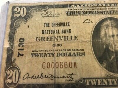 1929  20 The Greenville National Bank Greenville Ohio Oh   Ch 7130 Serial  660