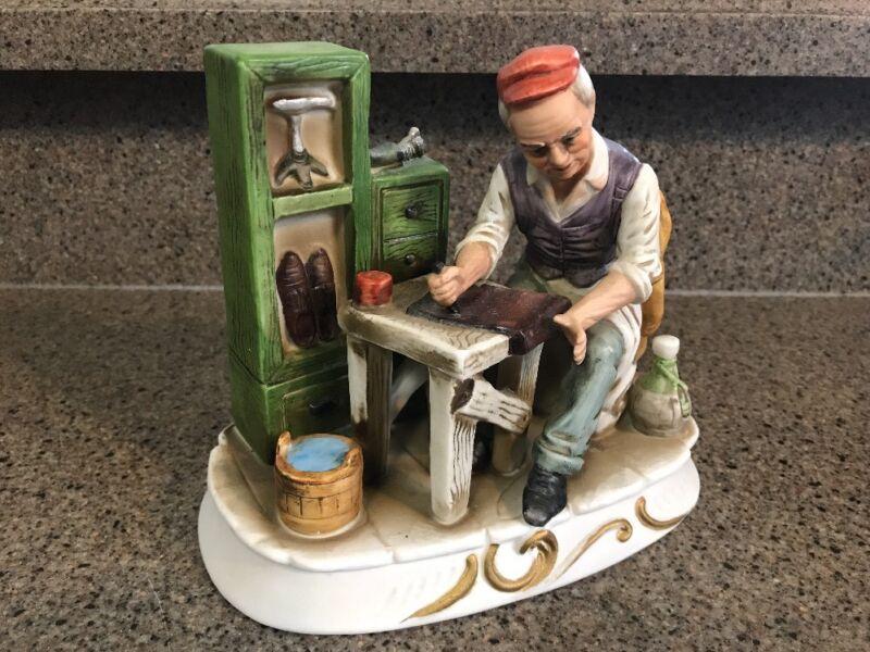 Vintage Shoe Maker Porcelain Figurine / HIMARK Japan Hand Painted