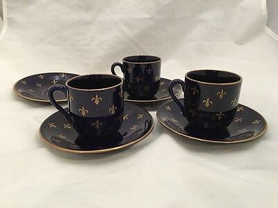 Rorstrand Fleur de Lis Demitasse Sweden Cobalt Gold espresso Cup and Saucer
