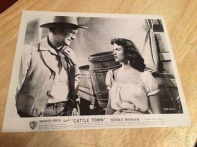 Vintage 1952 Movie Lobby Card - CATTLE TOWN - Dennis Morgan, Rita Moreno