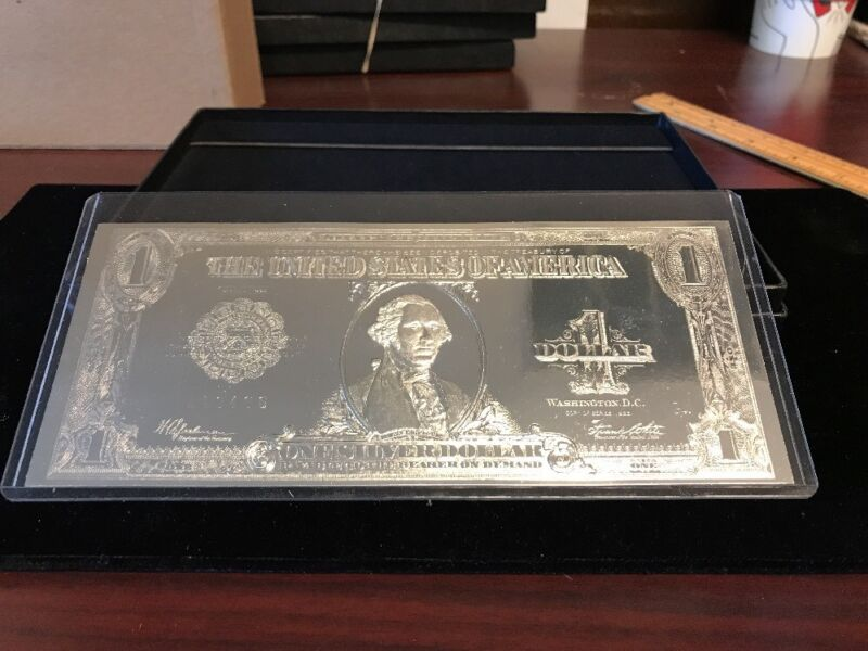 .999 Silver Plated Dollar Bill With Box