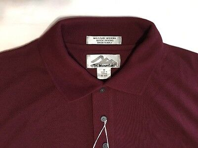 Mens Tri Mountain Size Medium Short Sleeve Polo   Rugby Golf Shirt Nwt