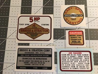 Briggs Stratton Mustang Snapper 5hp decal set 5 Vertical