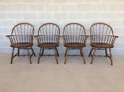 S. BENT BROS. SET OF 4 WINDSOR HOOP BACK WALNUT ARM CHAIRS/ DINING CHAIRS