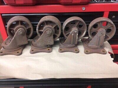 Industrial Vintage Metal Caster Wheels
