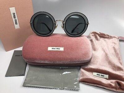 New Authentic Miu Miu SMU 08R VIE-9K1 Black, Grey & Gold Sunglasses 49mm Box Set