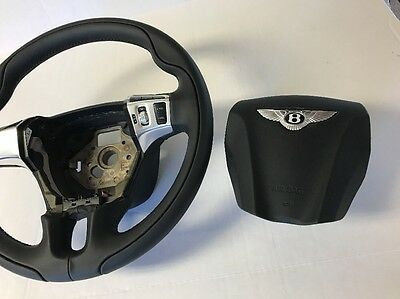 Bentley Continental GT/GTC 3 Spoke OEM Black Leather Sport Steering Wheel