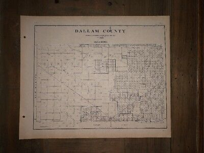 1926 DALLAM COUNTY TEXAS MAP LAND OFFICE AUSTIN BLUE LINE ANTIQUE VINTAGE