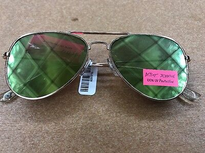 BETSEY JOHNSON Flat Aviator Sunglasses, Gold Rims, Gold Pink Green Lens, NWT