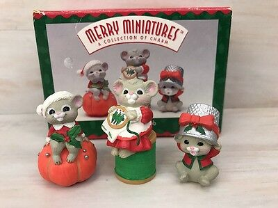 Hallmark 1995 Merry Miniatures The Sewing Club 3 Piece Set Figures Figurines