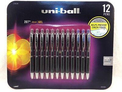 12 Uniball Uni-ball 207 Signo Gel Pen Black Blue Medium 9 Black 3 Blue 0.7mm New