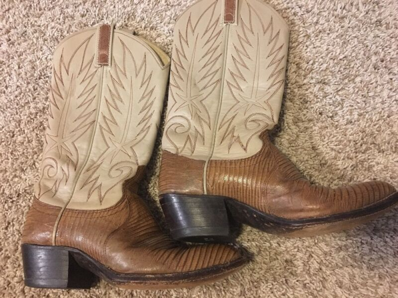 Authentic, Dan, Post, Lizard, Skin, Cowboy, Boots, Mens, Size, 6.5, C,
