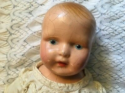 Antique 1920s Composition Baby Doll For Repair Or Display