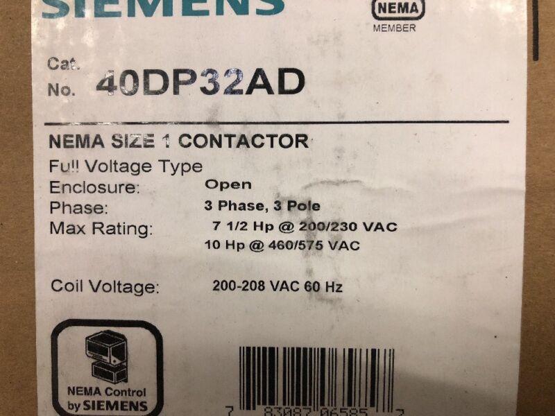 NEW Furnas Siemens Nema Size 1 Magnetic Contactor, Cat No. 40DP32AD + Aux. Cont.