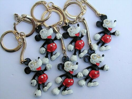 Vintage Walt Disney Productions (6) Metal Googly Eyed Mickey Key Chains
