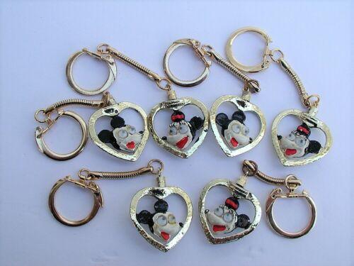 Walt Disney Productions 6 Metal Heart Googly Eyed Mickey & Minnie Key Chains
