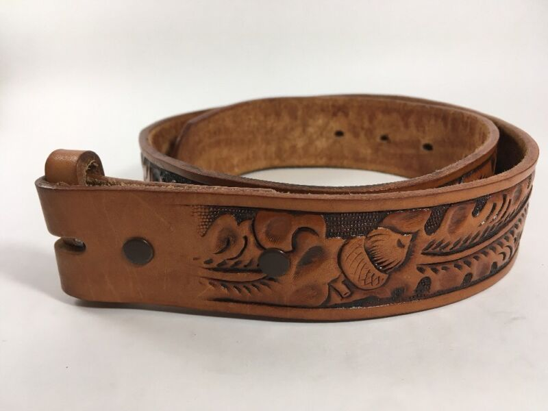 Brown Tooled Leather Belt Children