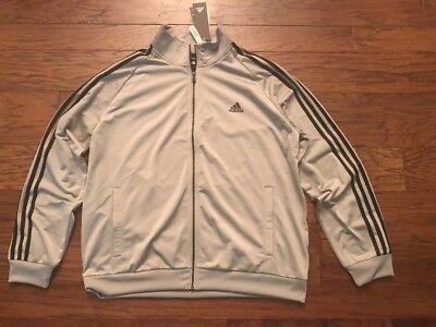 NEW Men's Adidas 3 Stripe Track Jacket Gray & Black Size XL or 2XL