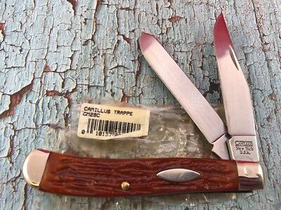 NOS Mint Camillus USA Trapper Knife With Brown Orange Stag Delrin Handles CM29C