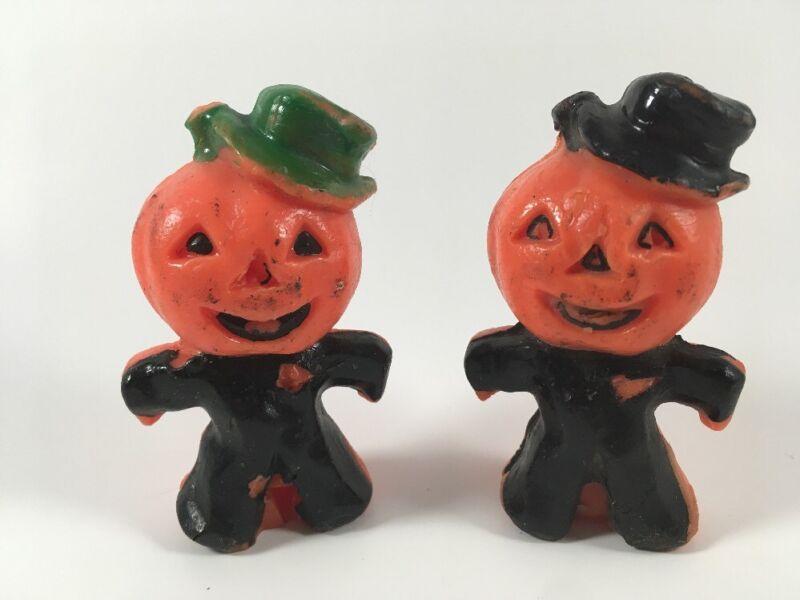 Vintage Halloween Candles Pumpkin Head Man Scarecrow Set of 2 Gurley? Figurines