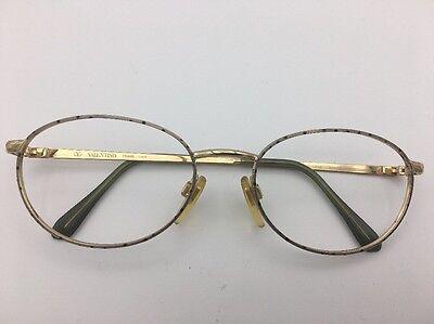 Valentino Eyeglasses Sunglasses Frames Gold w/ Silver & Black Polkadot 53-18-130