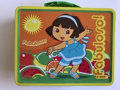 Dora Toy Box - Tin Metal Lunch Snack Toy Box Embossed DORA the Explorer Fabuloso New Defect