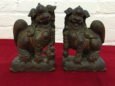Antique Chinese Wood Carving Foo Fu Dog Guardion Lion Animal Pair Statue 7""
