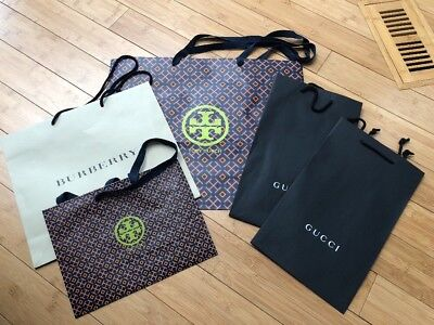 5 Paper Shopping Bags 2 Tory Burch 2 Gucci & Burberry! Must Have! Rare Find!