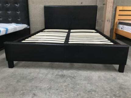 High Quality PU Leather Bed Frame Black/White
