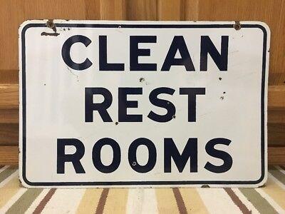 Clean Rest Rooms Porcelain Sign Vintage Gulf Gas Station Pump Oil Garage Man