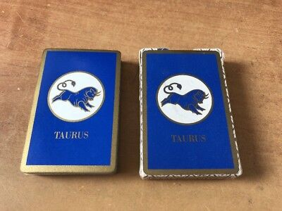 vintage Deck Playing Cards USA blue TAURUS Zodiac Sign Bridge Size never used
