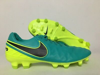 4460f706282d32 Nike Tiempo Legacy II FG Leather Soccer Cleats Jade Volt Black SZ 9   819218-307