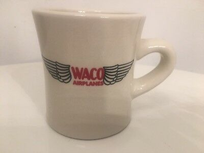 """Waco Airplanes Wing Logo Heavy White Ceramic Diner Style Coffee Mug - 3.75"""" for sale  New Bedford"""