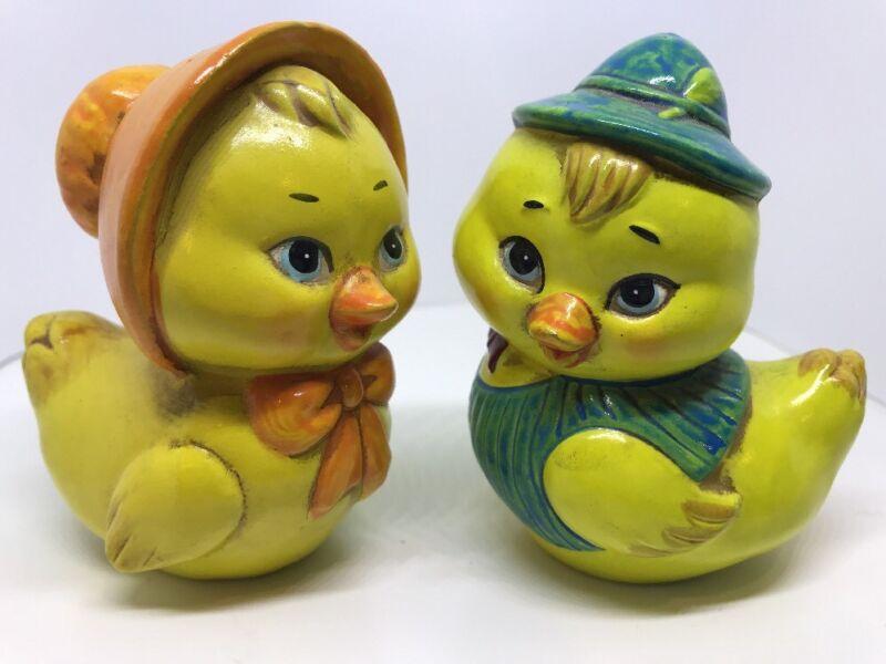Pair Vintage Easter Chick Duck Figurines Boy Girl JAPAN Paper Mache Dressed Up