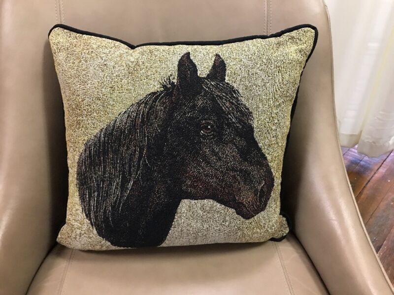 "Morgan Horse head Jacquard Woven Cotton Tapestry Accent 17"" Throw Pillow NEW"