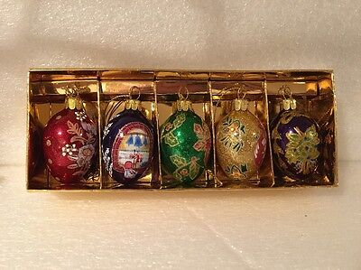 NIB Joan Rivers Faberge Russian Inspired 2011 Egg Ornaments Goldtone 5 Pc Set